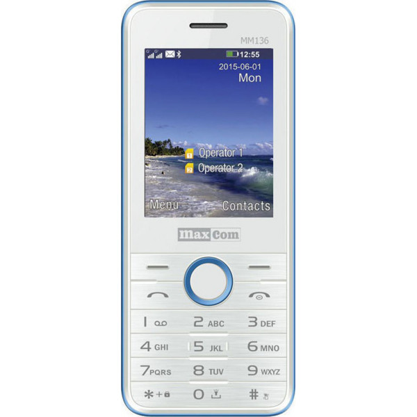 Maxcom MM136 Dual Sim, Mε Καμερα, Φακο και Ραδιοφωνο Λευκό - Μπλέ