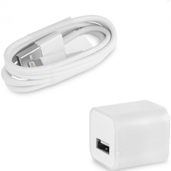OEM USB Wall Adapter & Cable Λευκό (A1385)