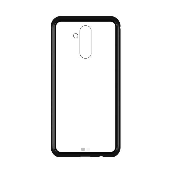 Μagnetic Metal Case with Transparent Detachable Metal Frame Back made of tempered glass for Mate 20 Lite