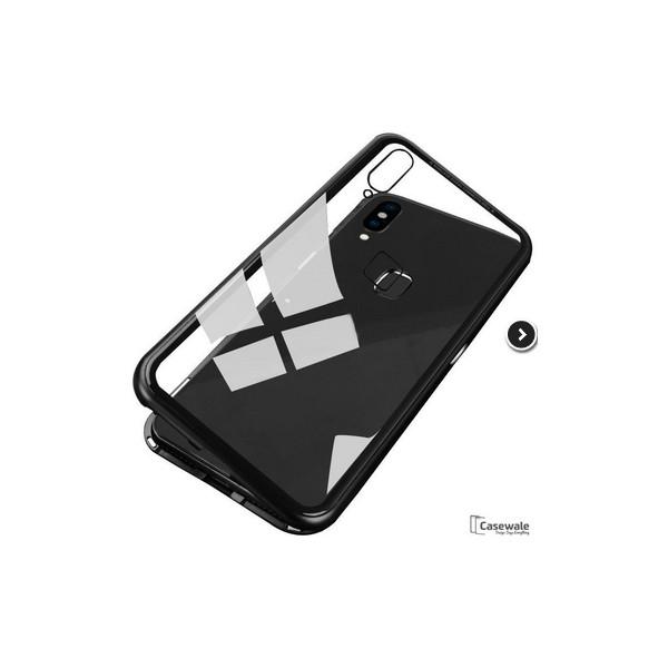 Μagnetic Metal Case with Transparent Detachable Metal Frame Back made of tempered glass for Xiaomi Redmi Note 5 Pro