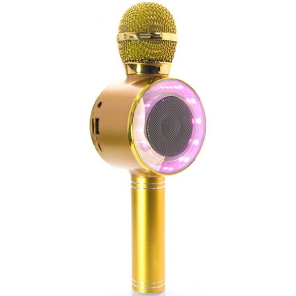 Ασύρματο Bluetooth Mικρόφωνο KARAOKE Hχείο Mp3 Player WSTER - Disco Light Microphone WS-668 Gold