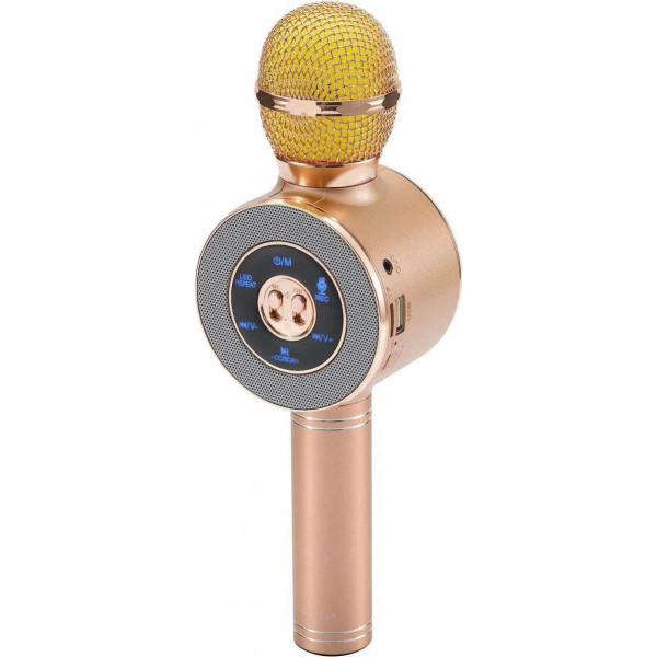 Ασύρματο Bluetooth Mικρόφωνο KARAOKE Hχείο Mp3 Player WSTER - Disco Light Microphone WS-668 Rose-Gold