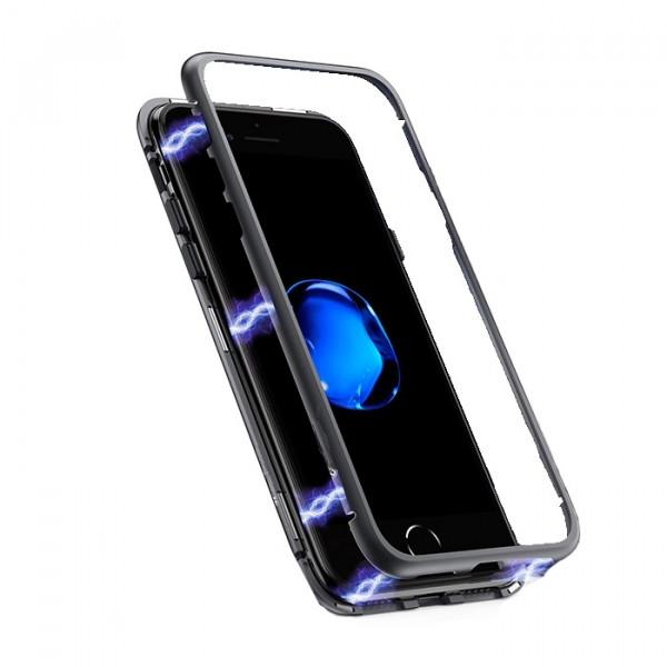 Μαγνητική Θήκη Detachable Metal Frame με Πίσω Όψη από Tempered Glass για Samsung J610F Galaxy J6 Plus