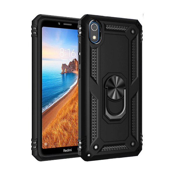 Hybrid Shockproof Armor Case With 360 Degree Metal Rotating Ring For Car Mount Holder Black για Xiaomi Redmi 7A