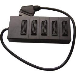 21 Pin Scart Αρσενικό σε 5* 21Pin Scart Θηλυκό W/Cable (KB A418) Blister